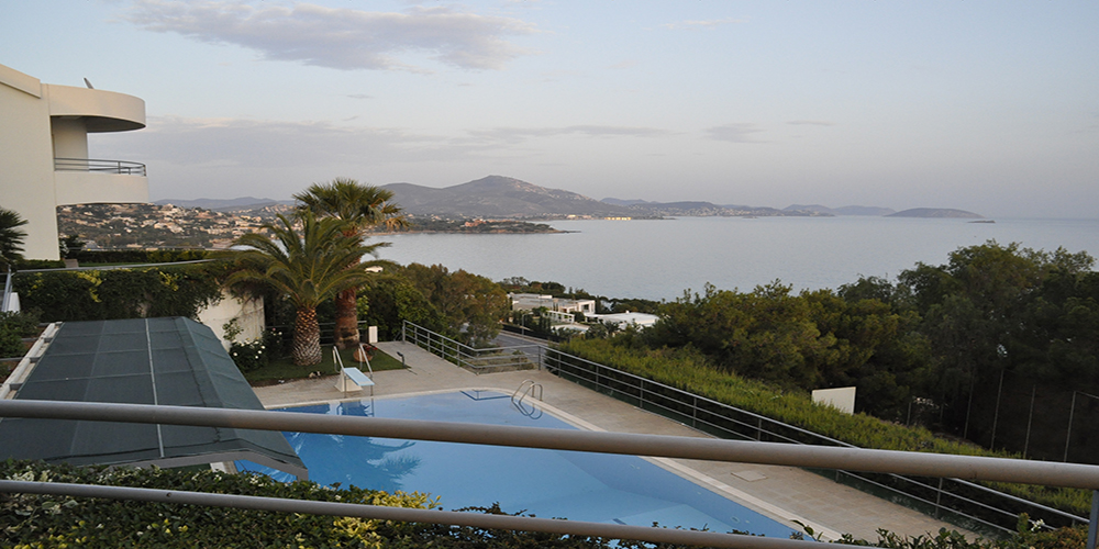 Residential Property House for Sale in Greece - View of the sea from the gallery swimming pool